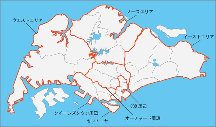 シンガポール賃貸・不動産 シンガポールの主要エリア地図01